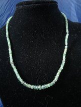 Handmade Graduated Emerald Beaded Necklace Z151 - $80.00
