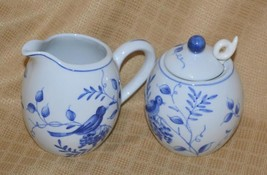 Creamer & Sugar & Lid & Spoon Andrea by Sadek On the Vine Blue birds grapes - $18.38