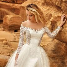 Long Sleeve Victorian Lace Corset Mermaid Trumpet Luxury Wedding Dress With Remo image 5