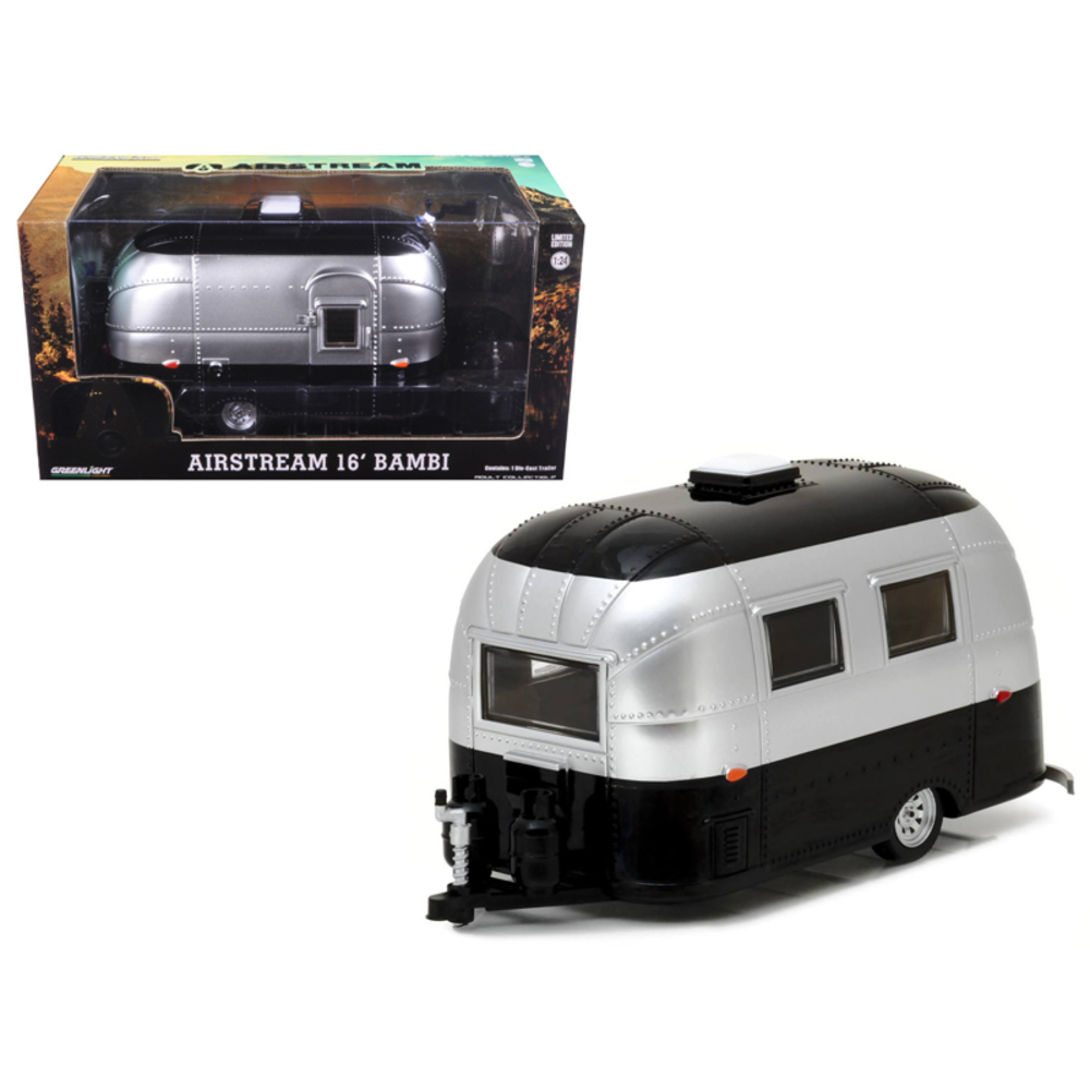 Airstream Bambi 16 Camper Trailer Black / Silver for 1/24 Scale Model Cars and T