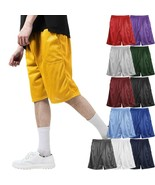 MENS PLAIN MESH SHORTS 2 POCKET CASUAL BASKETBALL SHORTS GYM FITNESS PE - $11.39+