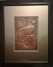 Copper Molded 3-D Deer Picture Matted And Framed - $12.97