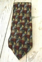 Jerry Garcia Burgundy Blue Gray Classic Silk Tie Made in USA - $12.53