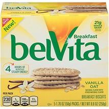 belVita Breakfast Biscuits, Vanilla Oat Flavor, 30 Packs 4 Biscuits Per Pack