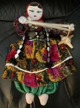 Vintage Stuff Plush Cloth Russian USSR Uzbekistan Female Girl Doll Cardi... - $44.49
