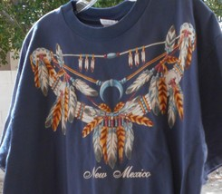 New Mexico X Large T-Shirt Blue Squash Blossom Feather Short Sleeve - $19.99