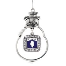 Inspired Silver Illinois Outline Classic Snowman Holiday Christmas Tree Ornament - $14.69