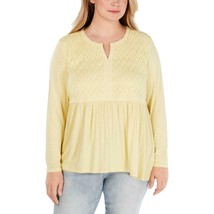 Style&co Top Blouse Yellow Long Sleeve Lace V-Neck Size 3X Plus NEW PL11 - $35.71