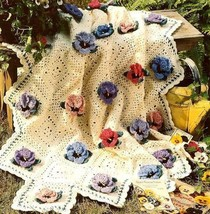 Z658 Crochet PATTERN ONLY Pansy Perfection Afghan Throw Pattern - $7.50