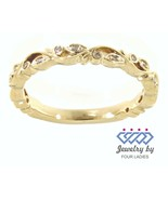 Solid 14K Yellow Gold 0.08CT Real Natural Diamond Vintage Band Jewelry F... - $1,088.01