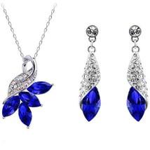 Exquisite Austria Crystal Maple Leaf Necklace Earrings 2pcs Jewelry Set (R - $45.12