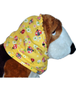 Yellow Red Ladybugs Sparkle Cotton Dog Snood by Howlin Hounds Size XL - $13.50