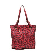 Fashion Tote With Leopard Print Handbag RED Designer Look Shopper Large ... - $24.99