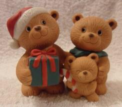 "Avon 1990 ""HOLIDAY HUGS"" PORCELAIN CHRISTMAS HOLIDAY BEAR FIGURINES Exln... - $9.97"