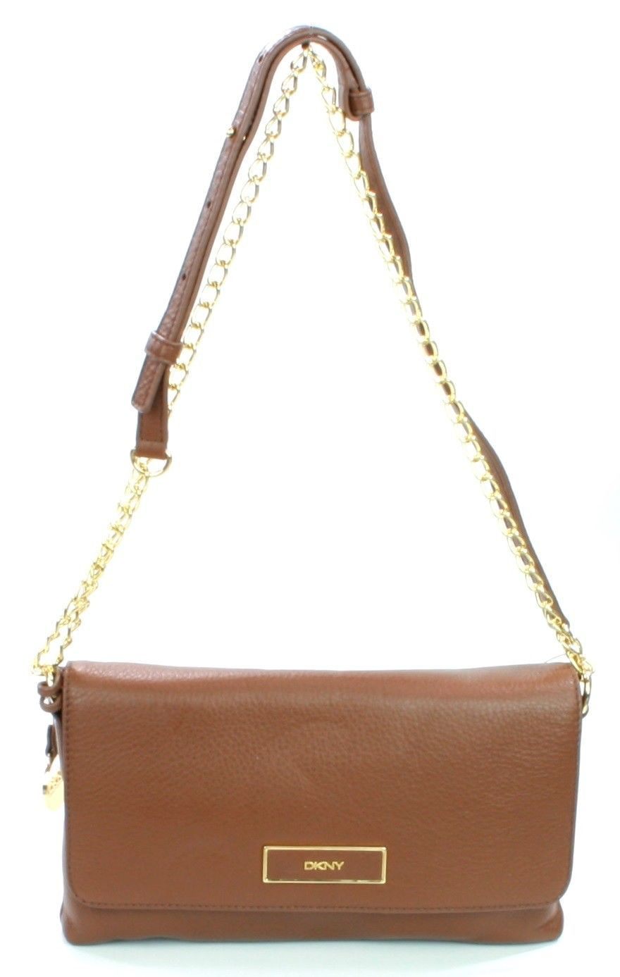 DKNY Donna Karan Brown Leather Shoulder Bag Handbag Small
