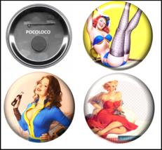 Retro-Style Pin-Up Girls -fridge magnet/pinback - (Set of 3) - You selec... - $3.95+