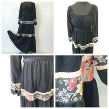 Vintage JCPenney Dress size S M Black Velvet Floral Trim Boho Peasant 19... - $39.95