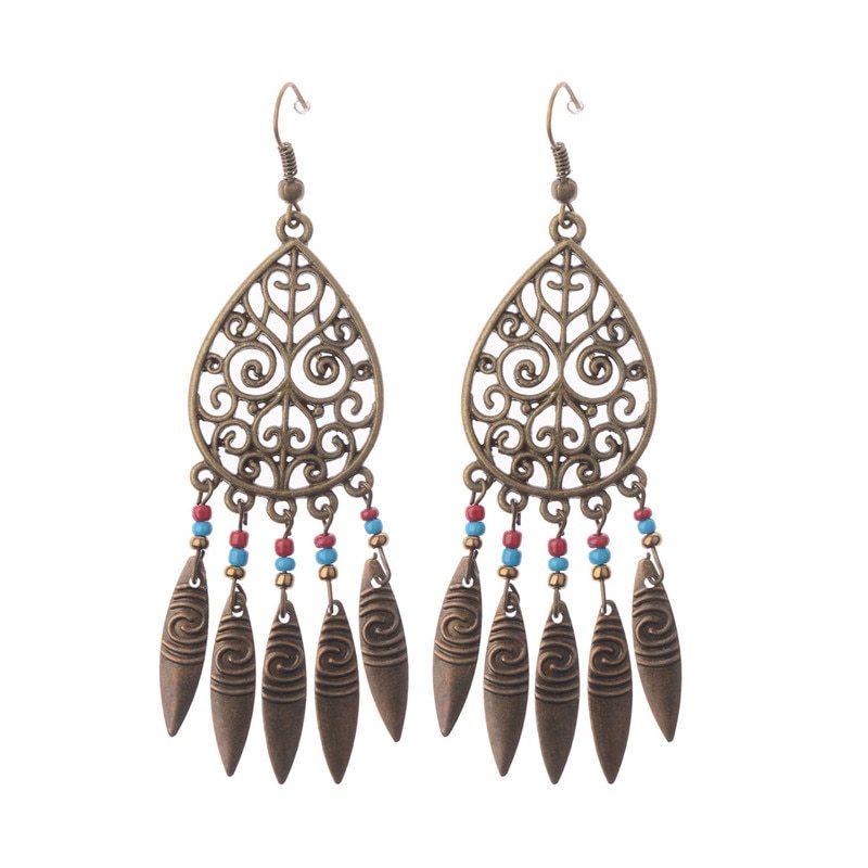 1 pair bronze native american hollow leaf tassel antique boho drop earrings 2017 new hqe007