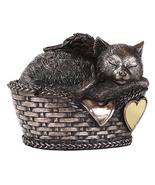 Ebros Heavenly Angel Cat Sleeping in Wicker Bed Basket Cremation Urn Pet... - $49.49