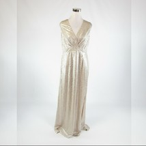 Metallic gold textured shimmery ANNE KLEIN stretch sleeveless maxi dress 8 - $79.99