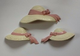Burwood Straw Hats Pink Ribbons Vintage Wall Plaques 1987 Made In USA - $12.86
