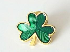 Vintage Hallmark Collectible Gold Tone Green Enamel Clover Shamrock Lapel Pin - $7.80