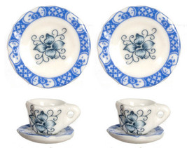 DOLLHOUSE MINIATURES 6 PC BLUE CUPS/SAUCERS/PLATES SET #G8426 - $3.99