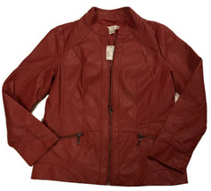 Christopher & Banks Vegan Faux Leather Moto Jacket Sz Small Red Zip Up NEW! - $49.00