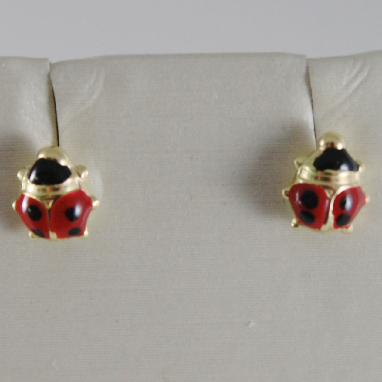 18K YELLOW GOLD EARRINGS MINI 5MM GLAZED LADYBIRD LADYBUG FOR KIDS MADE IN ITALY