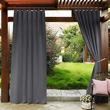 PONY DANCE Outdoor Curtain Gray - Blackout Drapes Tab Top Indoor Outdoor... - $30.24