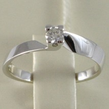 White Gold Ring 750 18k, Solitaire, Square Criss Crossed, Diamond, Ct 0.15 image 2