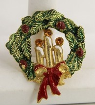 60s VINTAGE Jewelry CHRISTMAS WREATH BROOCH RHINESTONES CANDLES ENAMEL - $10.00