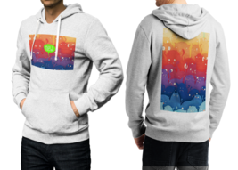 Rainbow Cat  White Cotton Hoodie For Men - $39.99