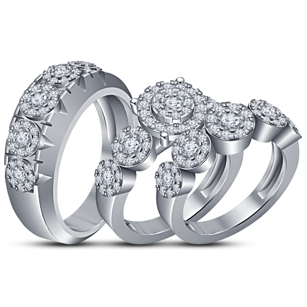 Primary image for 14K White Gold 925 Silver Diamond Engagement Bridal Wedding Band Trio Ring Set