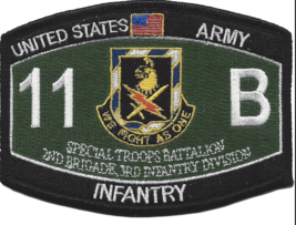 "4.375"" Army 11TH Bravo Special Troop Battalion Black Cat Mos Embroidered Patch - $16.24"