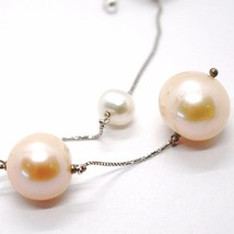Necklace White Gold 18k, with Hanging Charm, Pearls Large, White & Pink, 16 Mm image 2