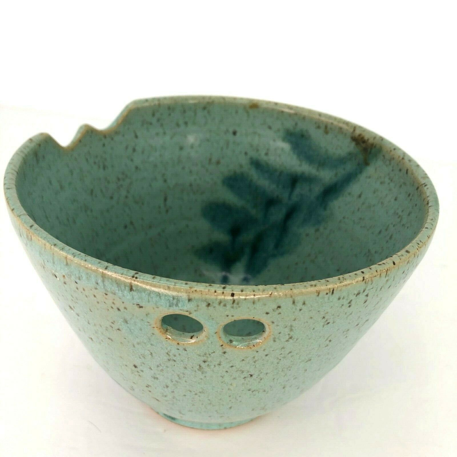Primary image for Kuoz Pottery Yarn Bowl Knitting Crocheting Ceramic Drip Glaze Blue Fired Craft