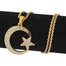 Women Gold Hip Hop Moon Star Pendant Islamic Crescent Figaro Chain Ramad... - $14.89
