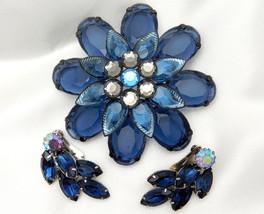 "Vintage Blue Lucite 2.75"" Flower Brooch & Near Matching Rhinestone Earrings - $16.95"