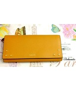 NWT LODIS Women's Leather Slim Foldover Wallet Quinn Cat Mustard Clutch - $68.24
