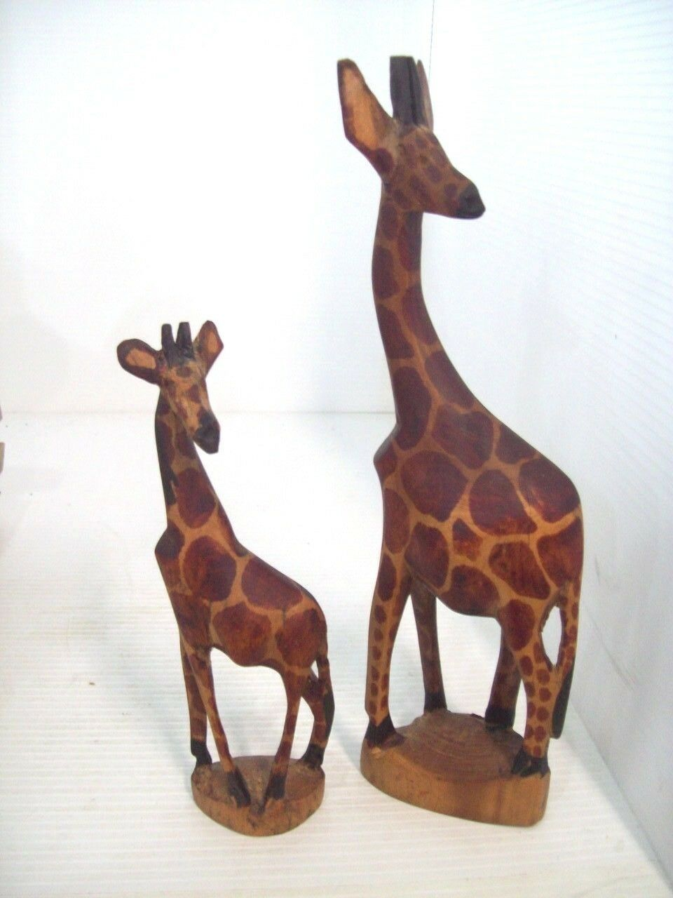 TWO Wooden Hand Carved GIRAFFE 12 & 8 IN Tall Handmade Carving Kenya Africa