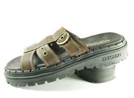Skechers Slide Sandals Women's Sz 7m Brown Leather Chunky Sole (tu25) - $22.49