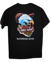 Harley Davidson T Shirt Baghdad Iraq Eagle Black 100% Cotton Mens size S... - $9.89