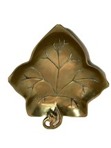 "Vintage Brass Maple Leaf Candy Dish Decorative Crafts Inc. 8"" x 7"" Patina - $23.99"