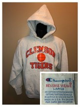 80s CLEMSON TIGERS Basketball Champion Reverse Weave USA Gray Hoodie Swe... - $281.95