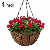 4 Pack Metal Hanging Planter Basket With Coco Coir Liner 10 Inch Round W... - $29.89