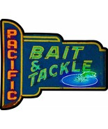 Pacific Bait and Tackle Neon Style Metal Sign, Vintage Inspired Advertis... - $49.95