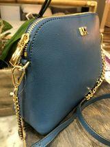 Michael Kors Mott Cindy Large Zip Dome Crossbody Bag Crossgrain Leather Chambray image 4