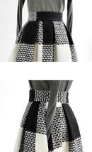 BLACK PLAID Midi Skirt Women Classy Winter Long Plaid Skirt Outfit Plus Size  image 4