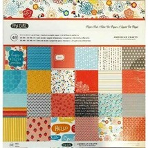 American Crafts My Girl 12x12 Cardstock Paper Pad 48 Sheets #35923